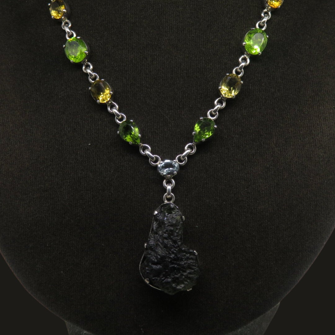 Moldavite (meteorite) Sterling Silver Necklace with Citrine and Peridot