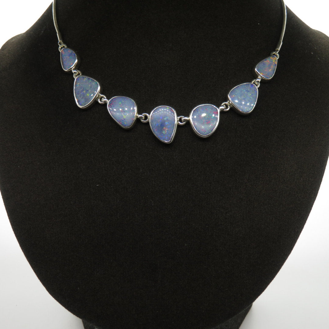 Australian Opal Necklace with Sterling Silver