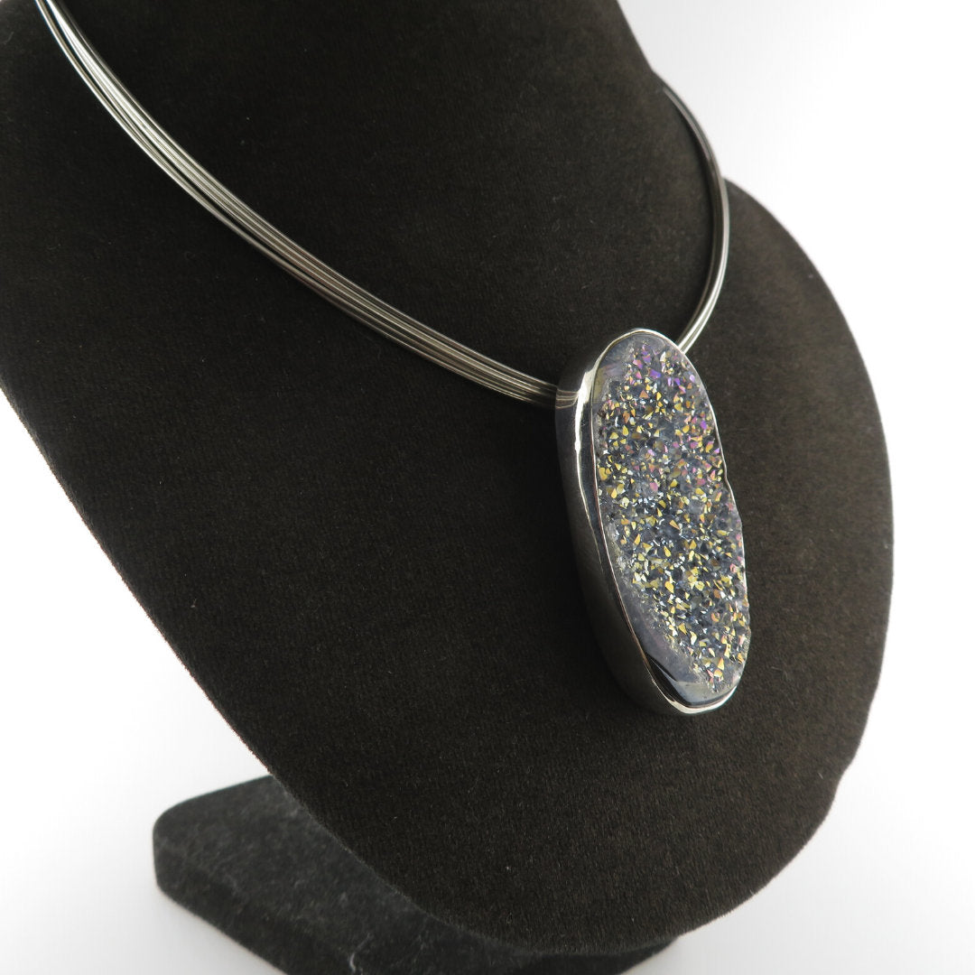 Drusy Quartz Necklace with Sterling Silver