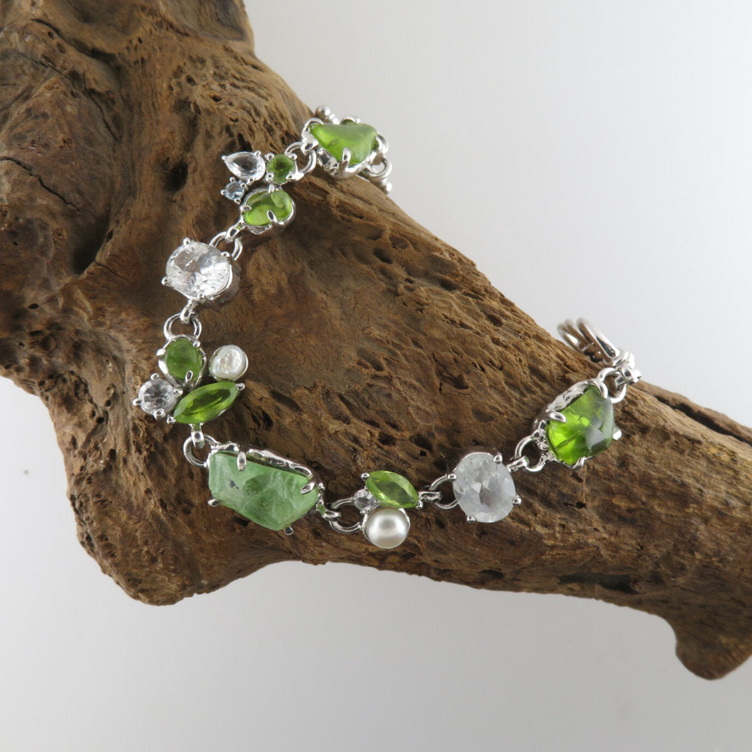 Rough and Faceted Peridot Sterling Silver Bracelet with White Topaz and Fresh Water Pearls