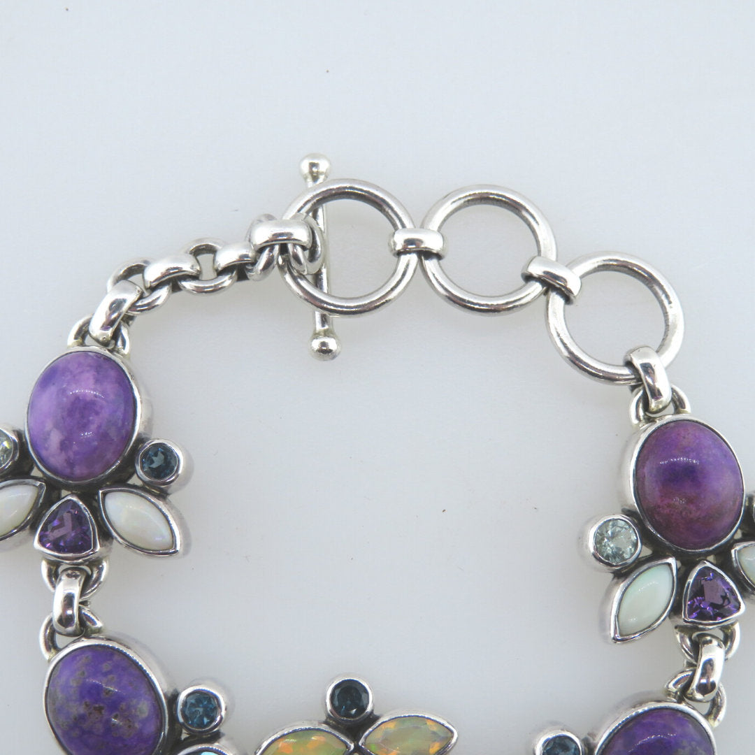 Sugilite Sterling Silver Bracelet with Opal, Blue Topaz, Aquamarine and Amethyst
