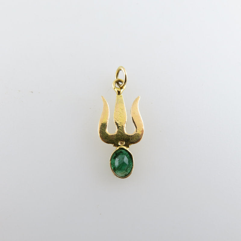 Trisula 18K Gold Pendant with Emerald