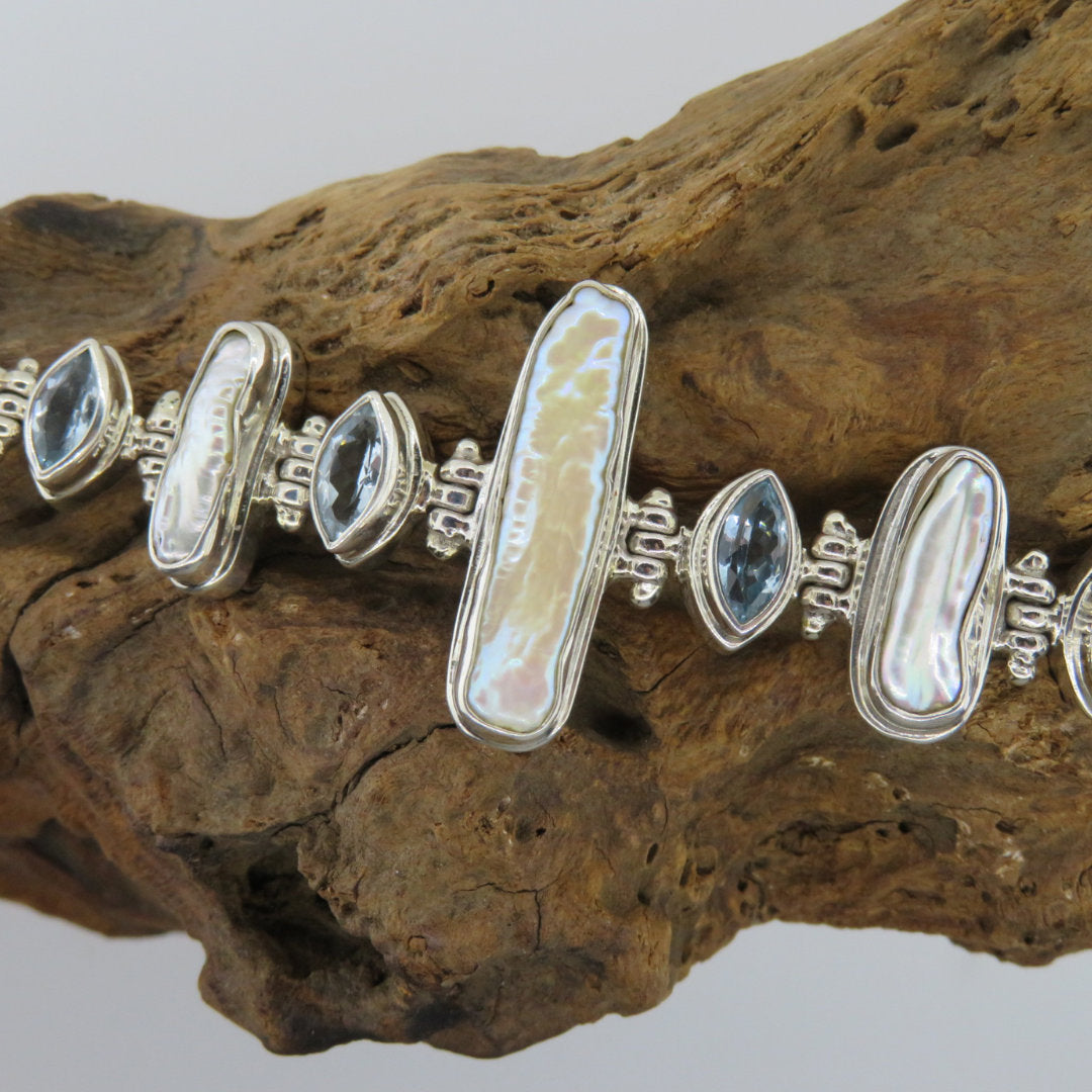 Fresh Water Pearl Bracelet with Blue Topaz and Sterling Silver