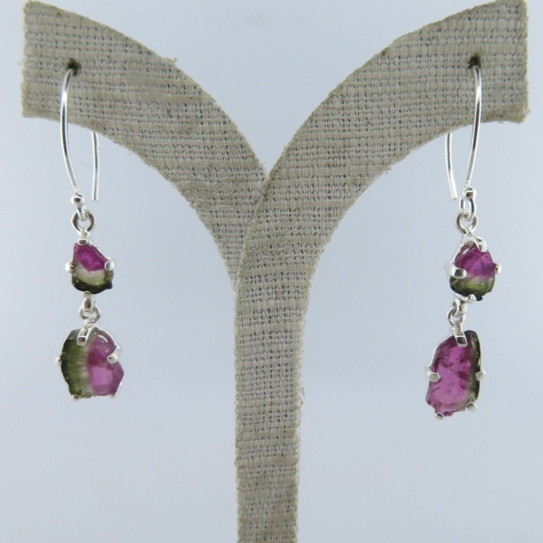 Watermelon Tourmaline Earrings with Sterling Silver