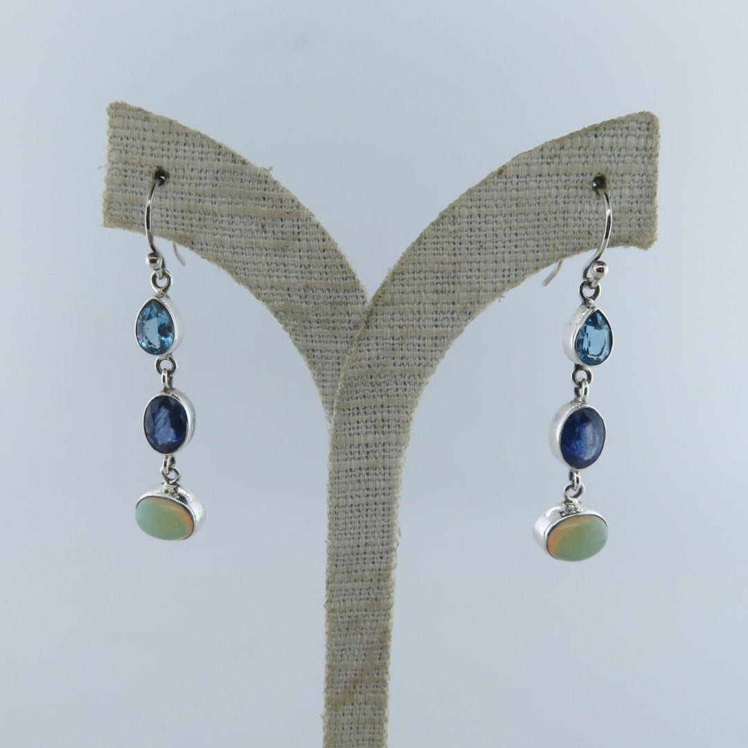 Ethiopian Opal Sterling Silver Earrings with Blue Sapphire and Blue Topaz