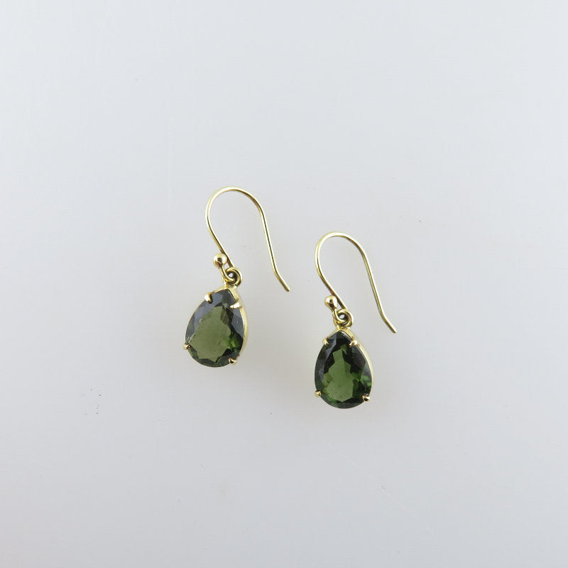Moldavite Earrings with 18K Gold