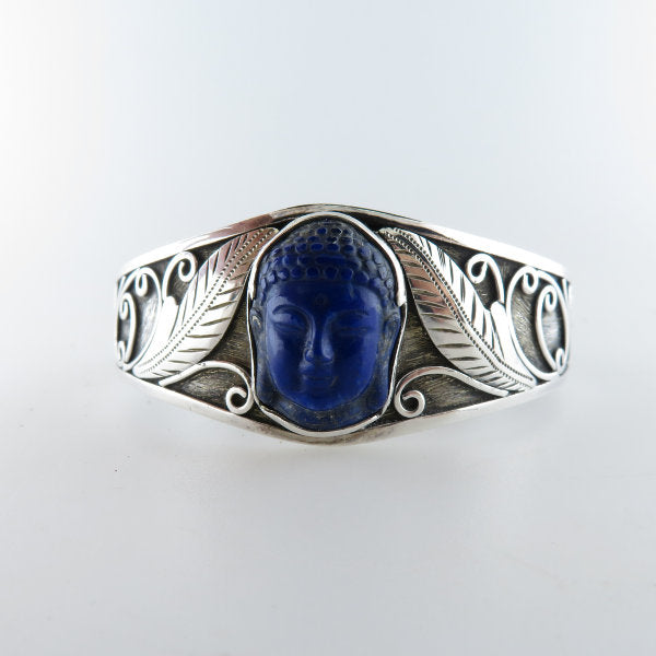 Lapis Lazuli Buddha Head curved Bangle with Sterling Silver