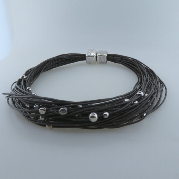 Leather Necklace with Electroformed Sterling Silver