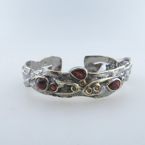 Sterling Silver Bangle with Garnet, Yellow Sapphire and Gold Plated