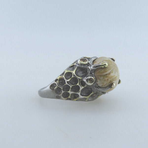 Fossil Coral Sterling Silver Ring with Yellow Sapphire and Gold Plated