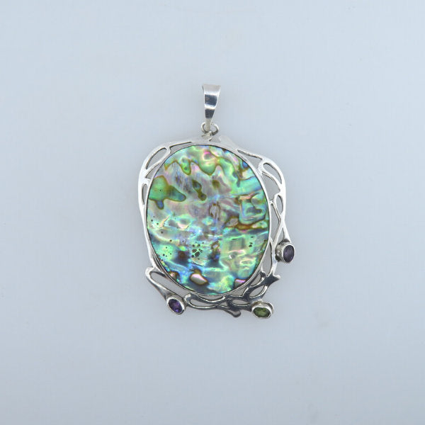Paua Shell (Rainbow Abalone) Pendant with Amethyst, Peridot and Sterling Silver
