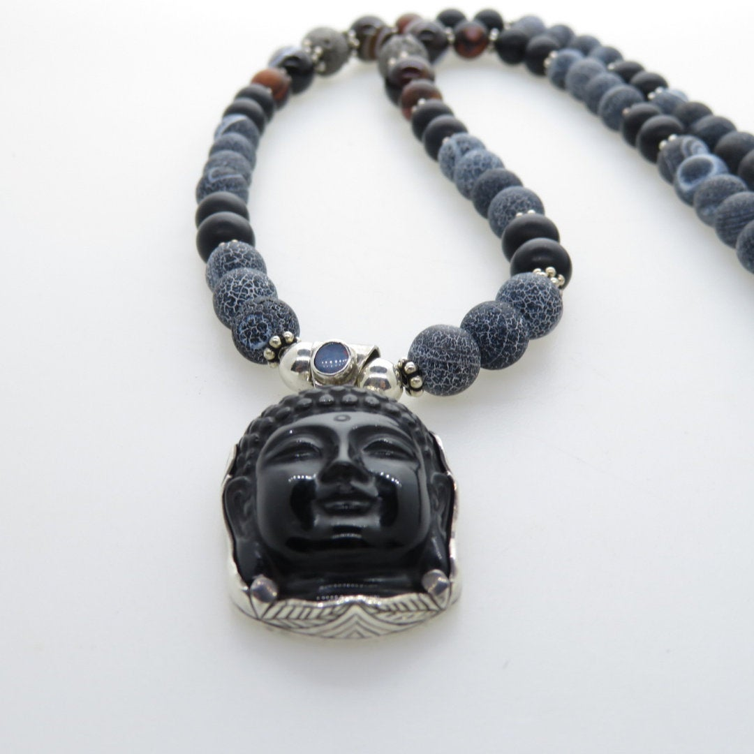 Obsidian Buddha Head Necklace with Agate, Onyx, Lava and Silver Beads