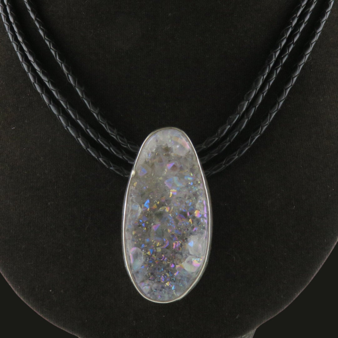 Drusy Quartz Necklace with Leather and Sterling Silver