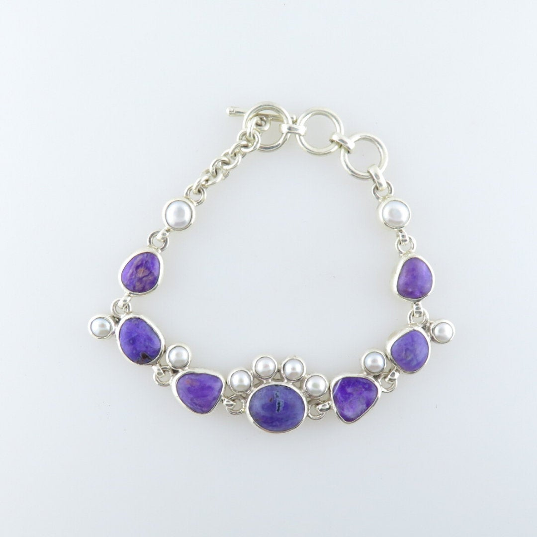 Sugilite  Sterling Silver Bracelet with Fresh water Pearls