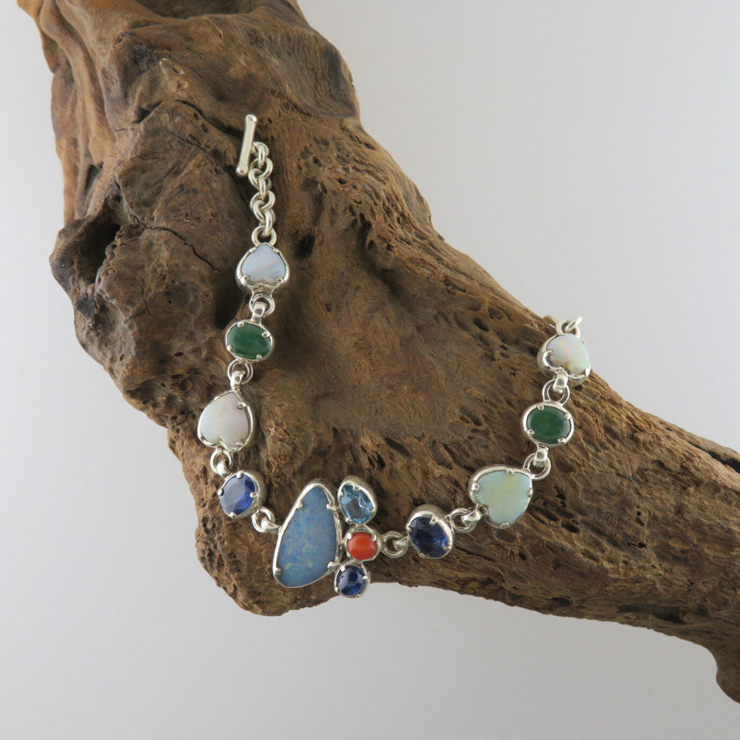 Australian Opal Sterling Silver Bracelet with Blue Sapphire, Jade, Blue Topaz and Red Coral