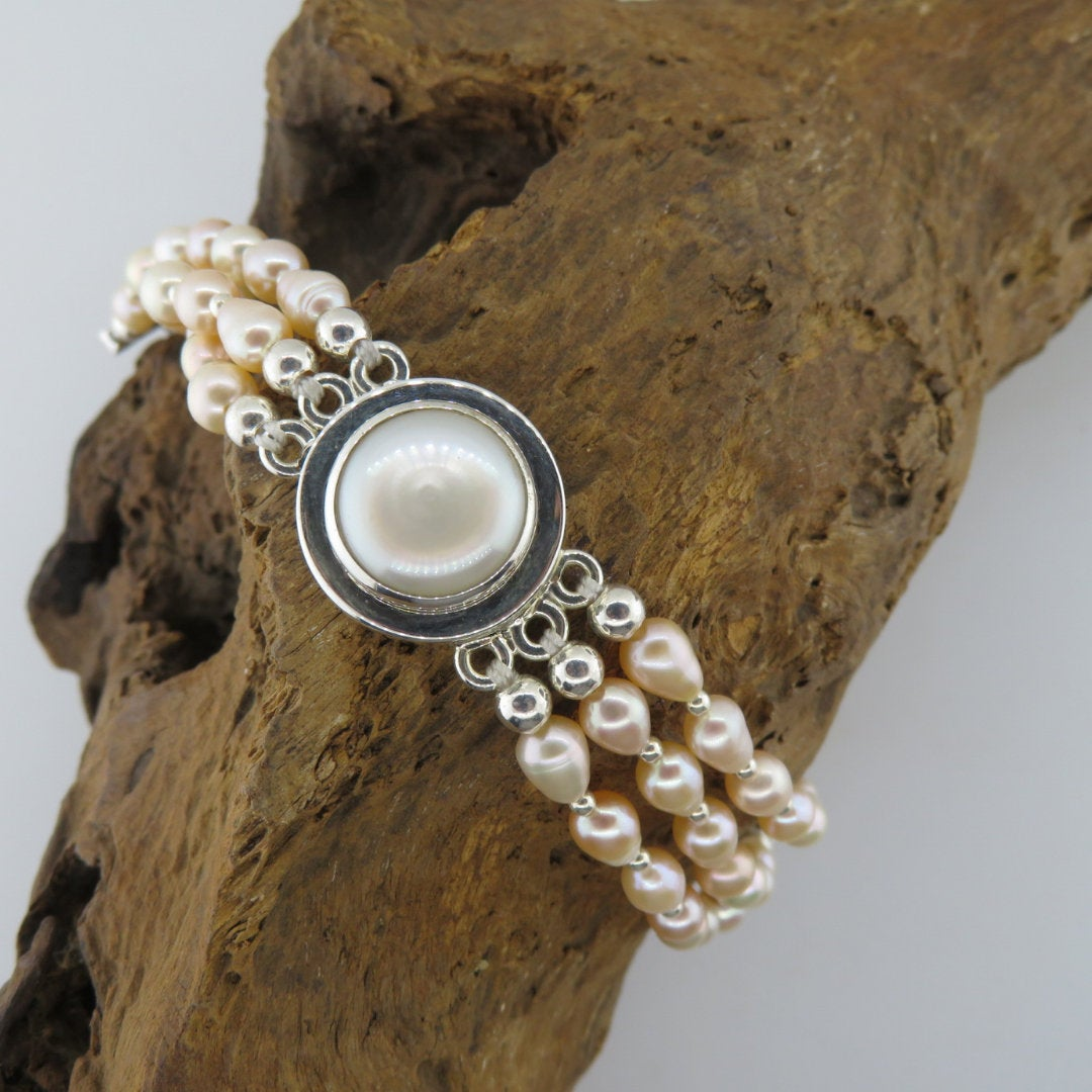 Fresh Water Pearl Bracelet with Sterling Silver
