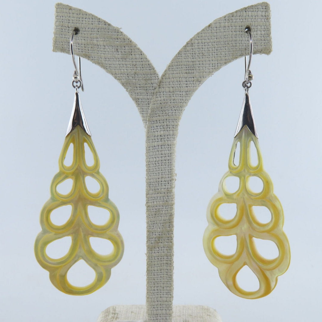 Yellow Mother of Pearl Earrings with Sterling Silver