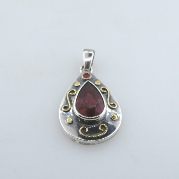 Pink Tourmaline Sterling Silver Pendant with Ruby and 18k Gold