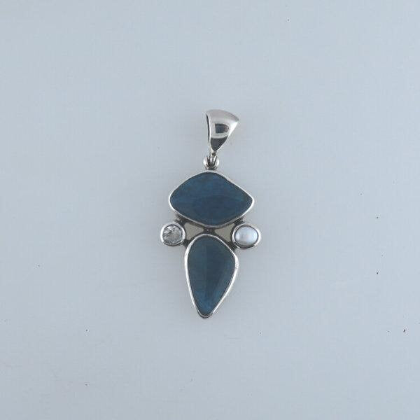 Apatite Sterling Silver Pendant with Fresh Water Pearl and Topaz