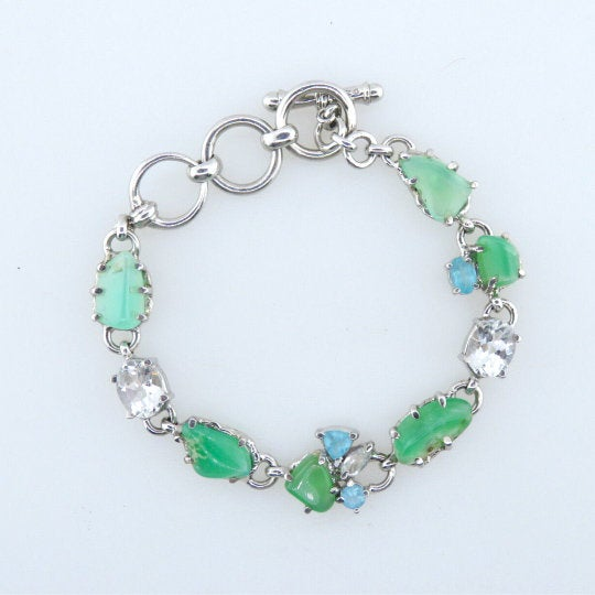 Chrysoprase Bracelet with White Topaz, Blue Apatite and Sterling Silver