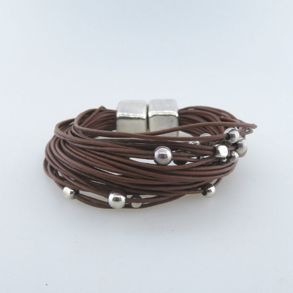 Leather Bracelet with Electroformed Sterling Silver