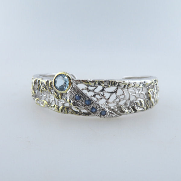 Sterling Silver Bangle with Blue Topaz,  Blue Sapphire and Gold Plated