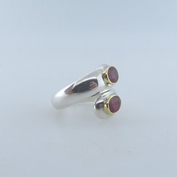 Ruby Ring with Sterling Silver and 18K Gold