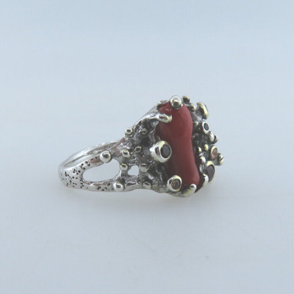 Red Coral Sterling Silver Ring with Garnet, Sapphire and Gold Plated