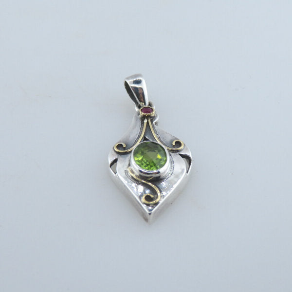 Peridot Sterling Silver Pendant with Ruby and 18k Gold