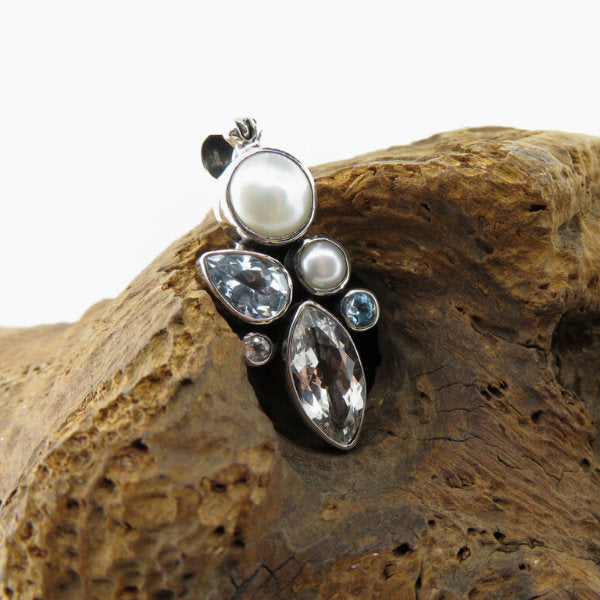 Blue Topaz Pendant with Fresh Water Pearl, White Topaz, Clear Quartz and Sterling Silver