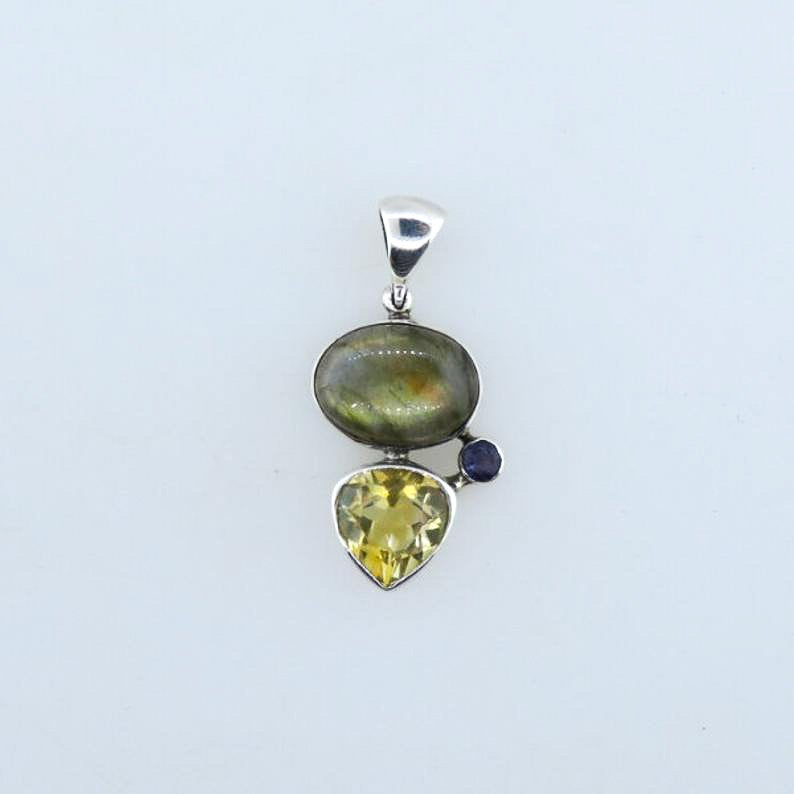 Labradorite Pendant with Citrine, Iolite and Sterling Silver