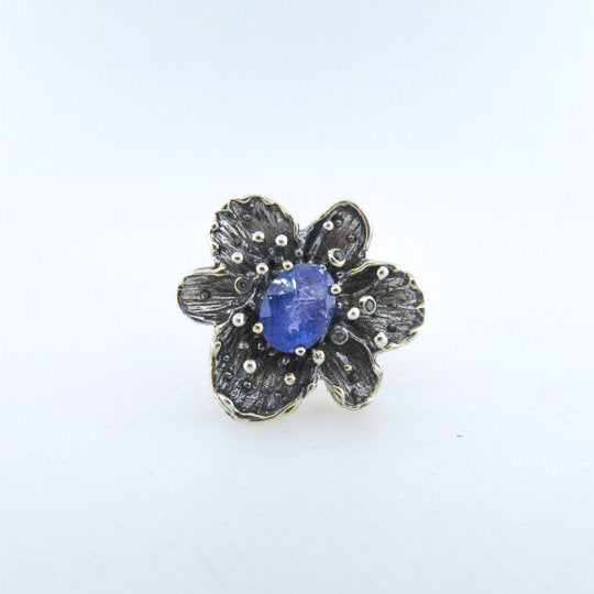 Sterling Silver Ring with Tanzanite and Blue Sapphire