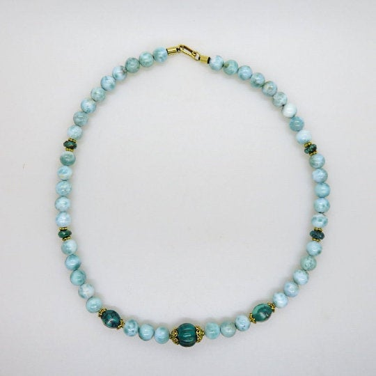 Larimar Stone 18K Gold Necklace with Turquoise