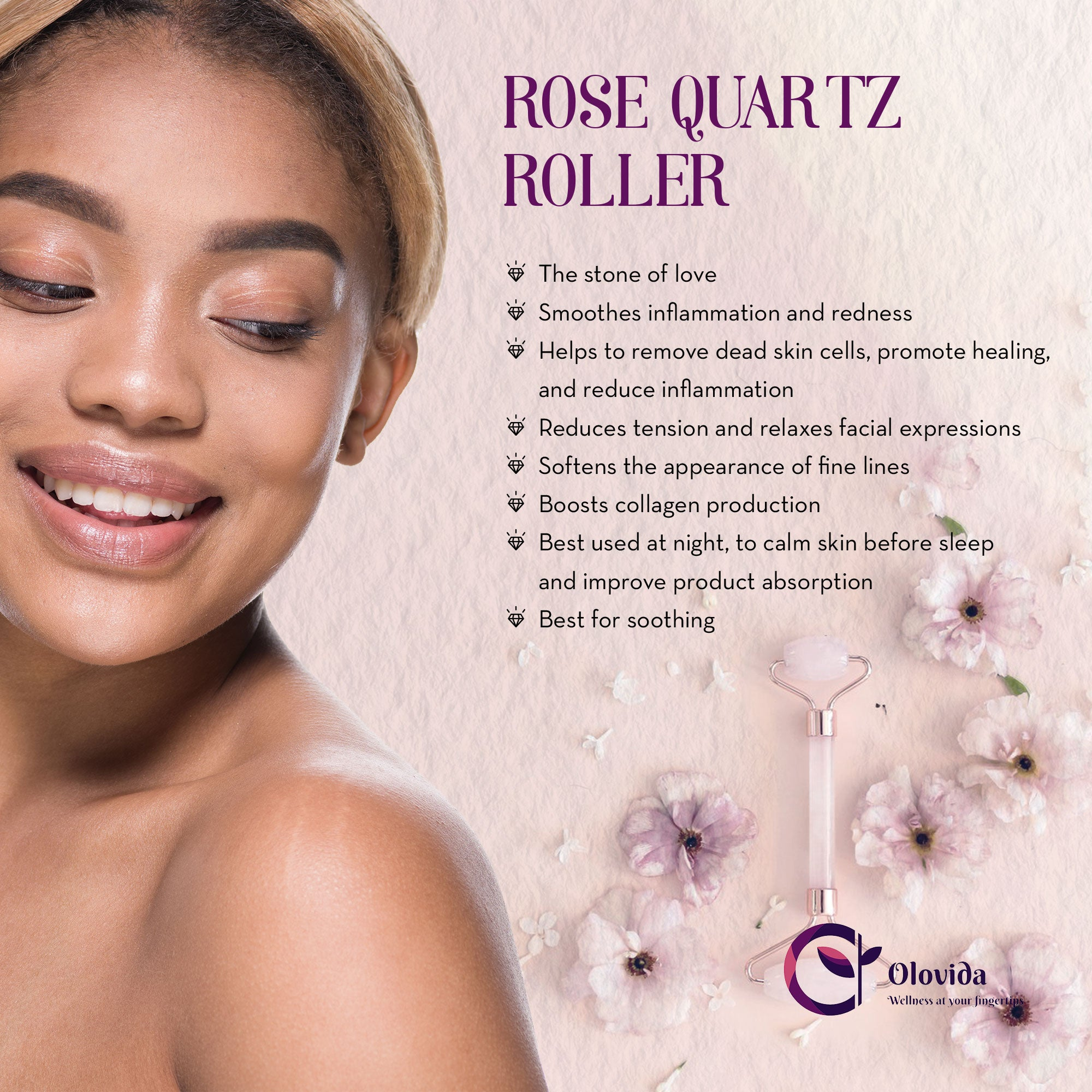 Rose Quartz Natural Crystal Roller