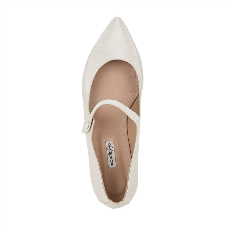 White Moirè Flat Shoes
