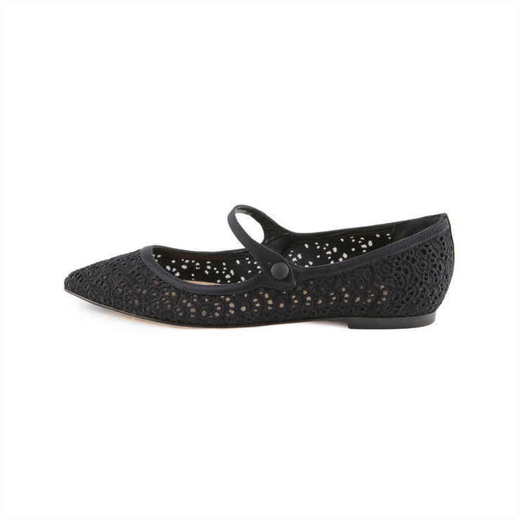 Black Macrame flat shoes