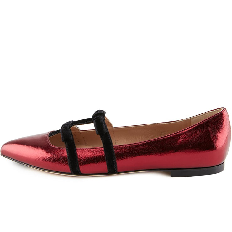 Burgundy Leather Flat Shoes