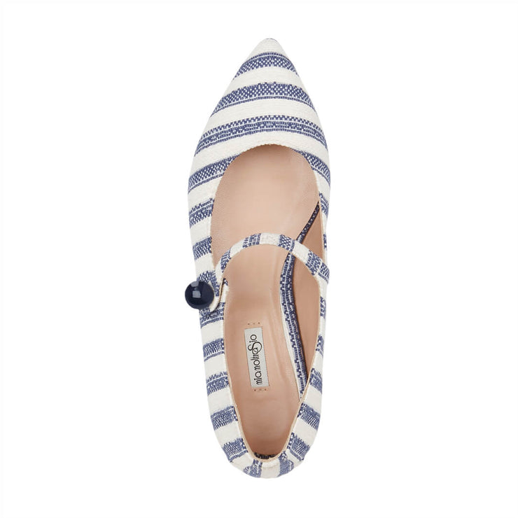 Blue Stripes Flat Shoes