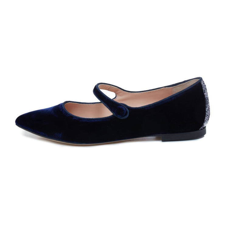 Blue Velvet Flat Shoes