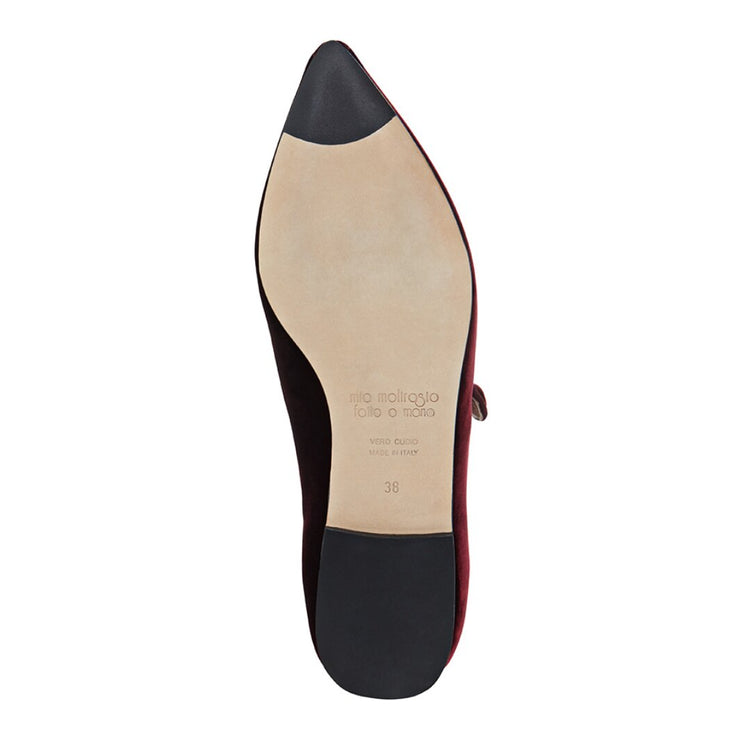 Burgundy Velvet Flat Shoes