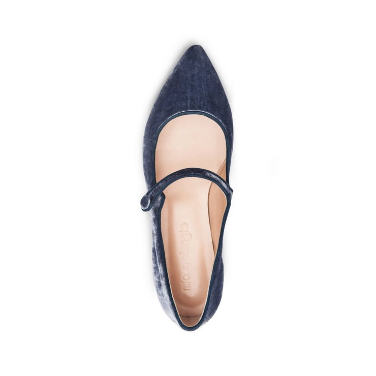 Powder Blue Velvet Flat Shoes
