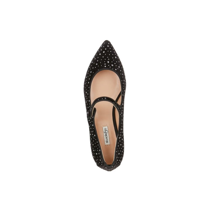 Black Velvet Flat Shoes with Glitter Dots