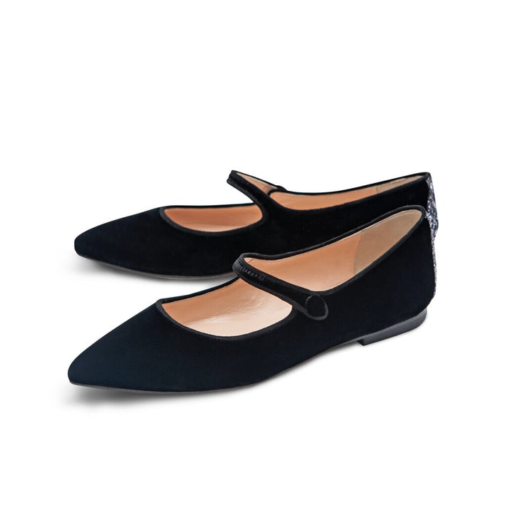 Black Velvet Flat Shoes