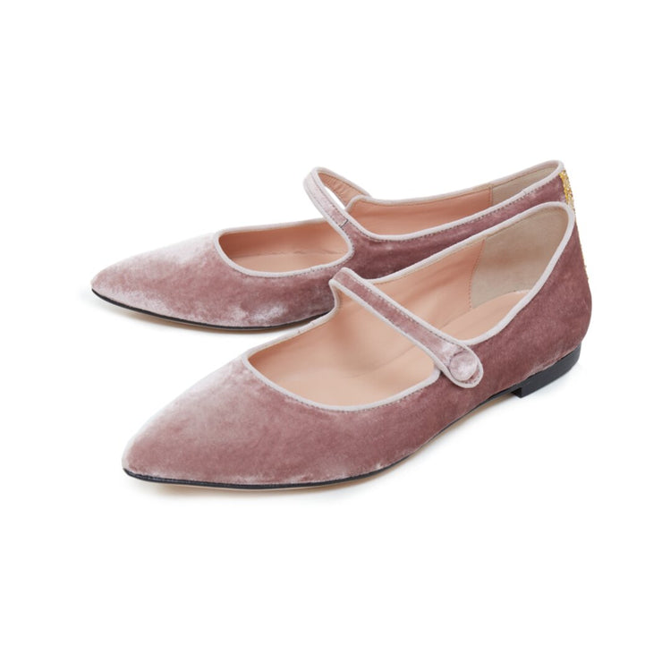 Rose Velvet Flat Shoes