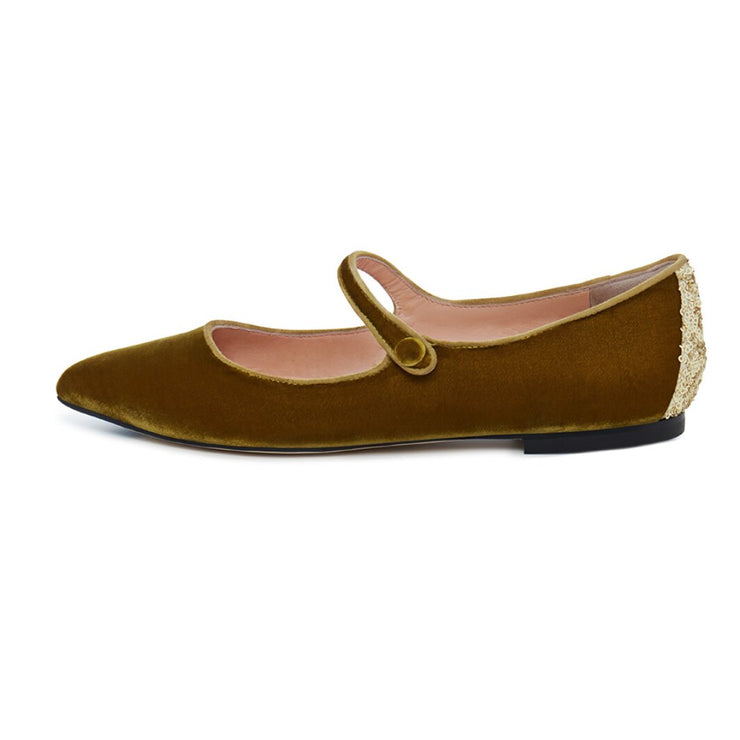 Dark Yellow Velvet Flat Shoes