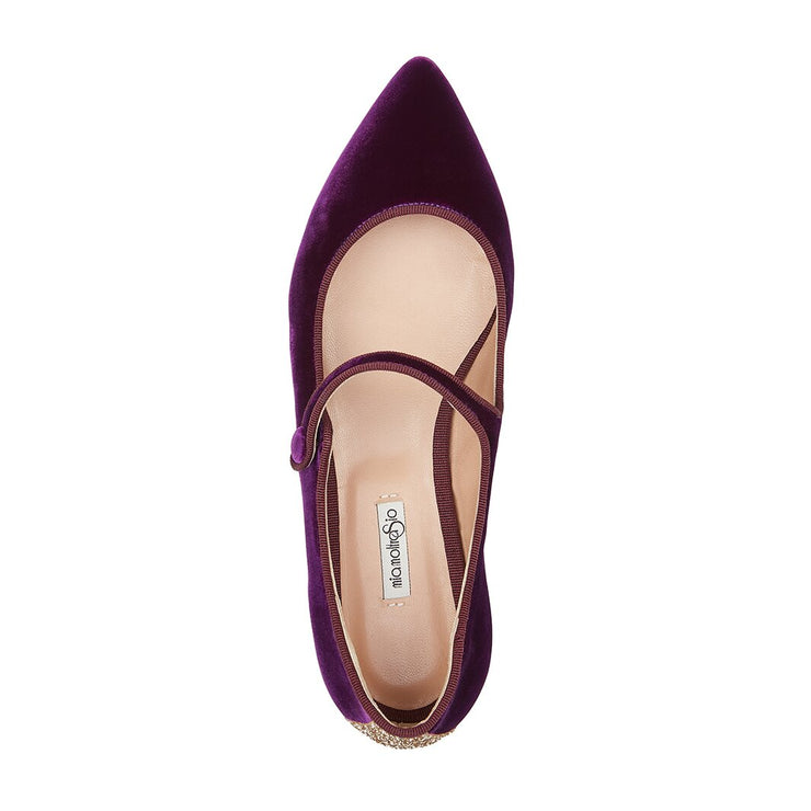Purple Velvet Flat Shoes
