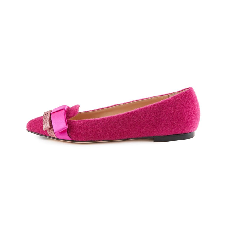 Loafer In Lana Fucsia
