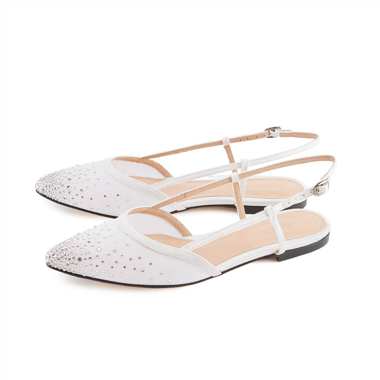 White sling back sandals with Swarovsky