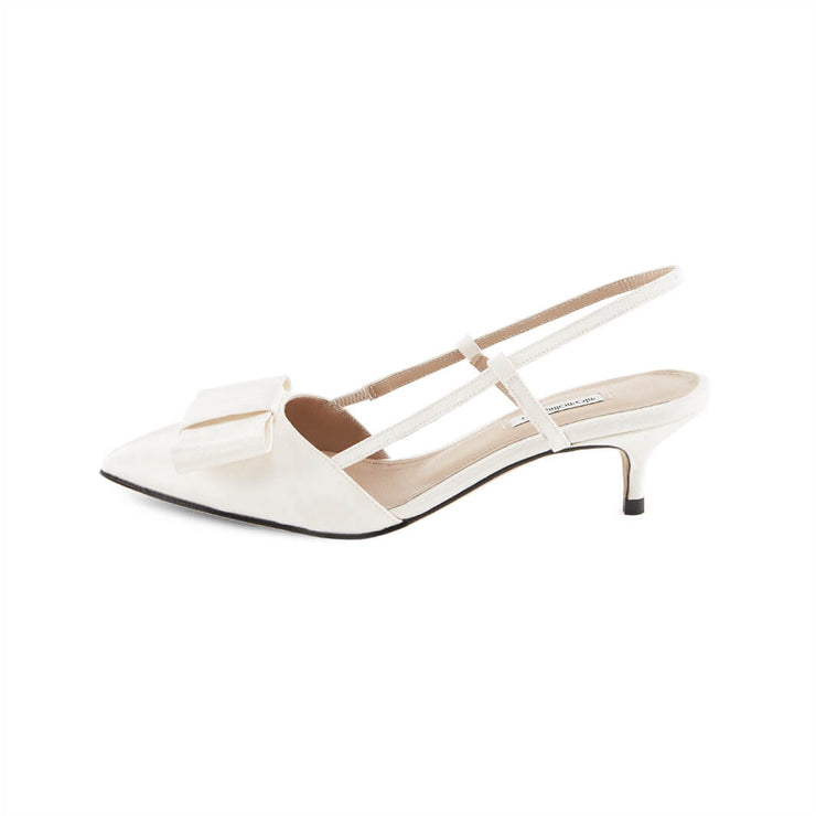 White moirè sandals with Kitten Heel