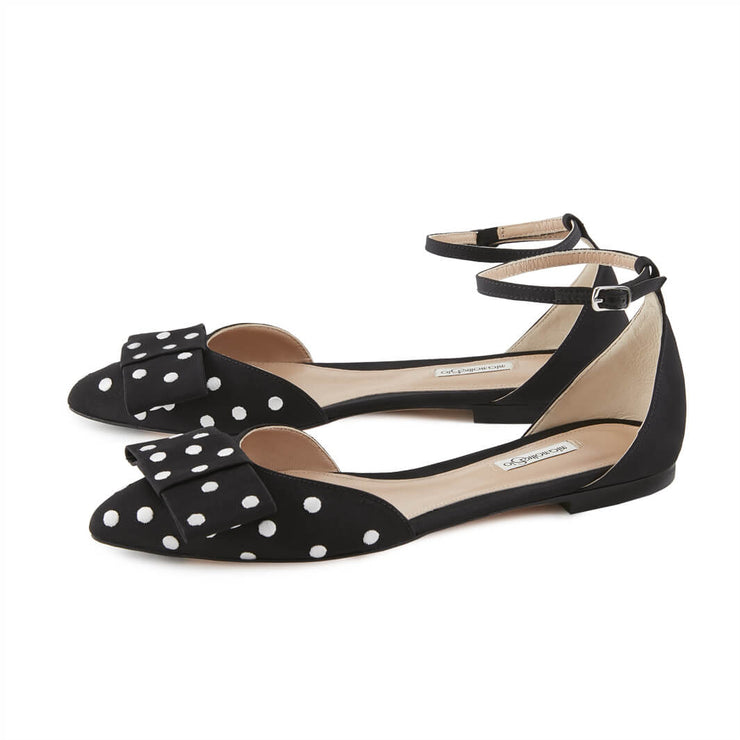 Black Gros Grain Sandals with White Dots